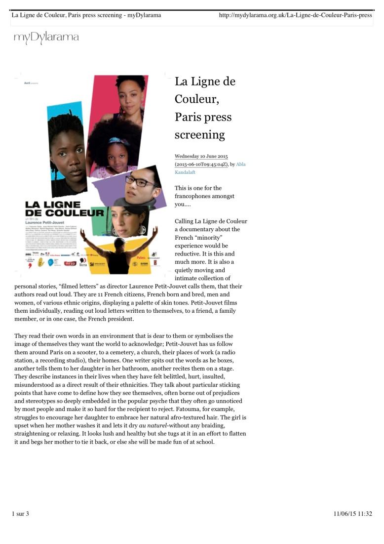 lalignedecouleur.com Paris press screening - myDylarama